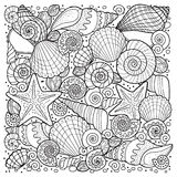 Vector coloring book for adult, for meditation and relax. Backgroun of sell, anchors, shells, stones and sand. Black and white ima. Backgroun of sell, anchors vector illustration