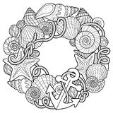 Vector coloring book for adult, for meditation and relax. Backgroun of sell, anchors, shells, stones and sand. Black and white ima Stock Images