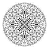 Vector coloring book for adult. Page for relax and meditation. Black and white mandala pattern with ethnic indian mehndi ornament Stock Images