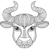 Vector coloring book for adult. Silhouette of bull isolated on white background. Zodiac sign Taurus. Abstract background animal pr. Silhouette of bull isolated Royalty Free Stock Photos