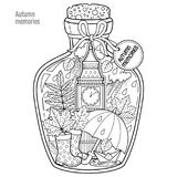 Vector Coloring book for adults. A glass vessel with autumn memories of dreams about a trip to London. A bottle with rain, boots, Royalty Free Stock Photos