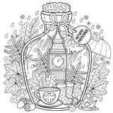 Vector Coloring book for adults. A glass vessel with autumn memories of dreams about a trip to London. A bottle with rain, boots, Royalty Free Stock Image