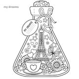 Vector Coloring book for adults. A glass vessel with dreams of traveling to Paris.A bottle with butterfly, ladybug, leaves, cup of Royalty Free Stock Photos