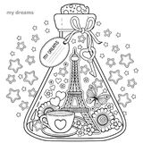 Vector Coloring book for adults. A glass vessel with dreams of traveling to Paris.A bottle with butterfly, ladybug, leaves, cup of Stock Photos