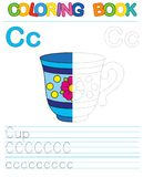 Vector coloring book alphabet.  Restore dashed line and color the picture.  Letter C. Cup. Vector coloring book alphabet. Educational game for kid. Simple level Royalty Free Stock Image