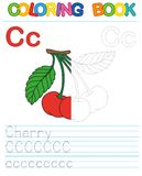 Vector coloring book alphabet. Restore dashed line and color the picture. Letter C. Cherry. Vector coloring book alphabet. Educational game for kid. Simple level royalty free illustration