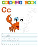 Vector coloring book alphabet. Restore dashed line and color the picture. Letter C. Crab. Vector coloring book alphabet. Educational game for kid. Simple level stock illustration