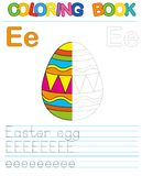 Vector coloring book alphabet.  Restore dashed line and color the picture.  Letter E. Easter Egg. Vector coloring book alphabet. Educational game for kid. Simple Royalty Free Stock Photography