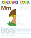 Vector coloring book alphabet. Restore dashed line and color the picture. Letter M. Mushroom. Vector coloring book alphabet. Educational game for kid. Simple Royalty Free Illustration