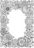Vector Coloring book anti-stress for adults. Doodle elements. Decorative floral frame. Coloring book anti-stress for adults. Doodle elements. Decorative floral Stock Photo
