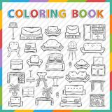 Vector coloring book.Home interior Royalty Free Stock Image