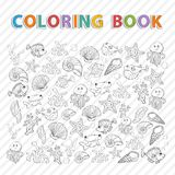 Vector coloring book.Marine life. Hand drawn Icon set with various sea inhabitants, seaweed,sword fish,fish urchin, octopus, jellyfish,coral,shells, barnacles Royalty Free Stock Photos