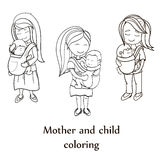 Vector coloring book set. Happy mothers carrying their childs Royalty Free Stock Image