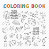Vector coloring book.Summer set Stock Image