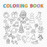 Vector coloring book.Winter set Royalty Free Stock Photography