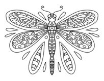 Free Vector Coloring Book With Dragonfly Line Art Black And White Illustration. Insect With Wings And Small Details. Coloring Page For Stock Photography - 187327722