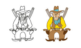 Vector coloring humorous caricature character. Angry armed Sheriff cowboy with revolvers, rifles and a hat. Royalty Free Stock Photos