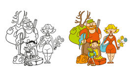 Vector coloring humorous caricature characters. Family from three persons - mother, father, daughter. Mom with flowers. The hunter with a backpack dad, girl stock illustration