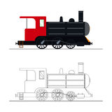 Vector coloring an old steam locomotive. Color and outline old steam locomotive vector illustration. Coloring for kids - old steam locomotive Royalty Free Stock Image