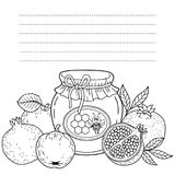 Rosh Hashanah Honey With Apples Coloring Page Stock Vector ...