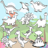 Vector Coloring Page of Line Art Dinosaurs Stock Photos