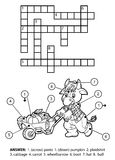 Vector colorless crossword. Bull gardener with a wheelbarrow Royalty Free Stock Photography