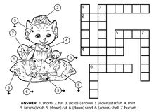 Vector colorless crossword. Cat on the beach Stock Photos