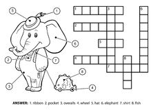 Vector colorless crossword. Cute elephant with a toy Stock Photos