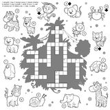 Vector colorless crossword, education game about animals Royalty Free Stock Image