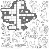 Vector colorless crossword, education game about farm animals Royalty Free Stock Image