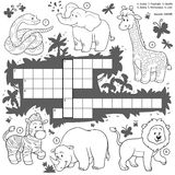 Vector colorless crossword, education game about safari animals Stock Photos
