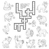 Vector colorless crossword about farm animals Stock Photo