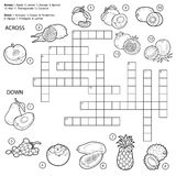 Vector colorless crossword, game for children about fruits Royalty Free Stock Photography
