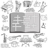 Vector colorless crossword, game for children about music instru Royalty Free Stock Images