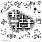 Vector colorless crossword about honey and bees Royalty Free Stock Image