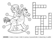 Vector colorless crossword. Little boy on a rocking horse Royalty Free Stock Photography