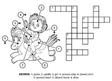 Vector colorless crossword. Little girl on a horse Royalty Free Stock Images