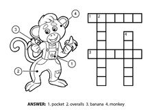 Vector colorless crossword. Little monkey and bananas Royalty Free Stock Photo