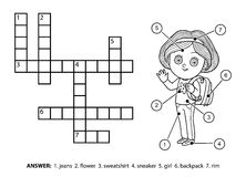 Vector colorless crossword. Schoolgirl character with a backpack Stock Image
