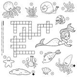 Vector colorless crossword about sea life Royalty Free Stock Images