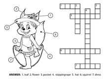 Vector colorless crossword. Squirrel jumping rope Royalty Free Stock Photography