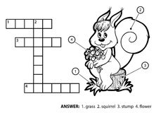 Vector colorless crossword. Squirrel sitting on a tree stump Stock Images