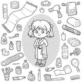 Vector colorless set of bathroom objects, girl and bathrobe. Vector colorless set of bathroom objects, little girl and bathrobe Royalty Free Stock Photo