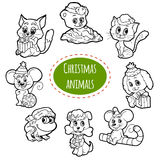 Vector colorless set of Christmas cute animals. Cartoon collection, coloring page with little animals Royalty Free Stock Photo