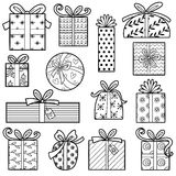 Vector colorless set of Christmas gifts. Vector colorless collection, Set of Christmas gifts Stock Photography