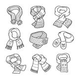 Vector colorless set of scarves with animals and ornaments. Vector black and white set of scarves with animals and geometric ornaments Royalty Free Stock Images
