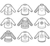 Vector colorless set of sweaters Royalty Free Stock Photography