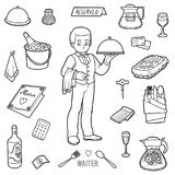 Vector colorless set with waiter and objects from the restaurant. Vector black and white set with waiter and objects from the restaurant royalty free illustration