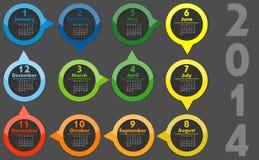 VECTOR - Calendar 2014. VECTOR colors abstract - Calendar 2014 Royalty Free Stock Image