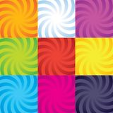 Vector colour-burst spiral swirl collection. Vector colour-burst swirl spiral collection stock illustration